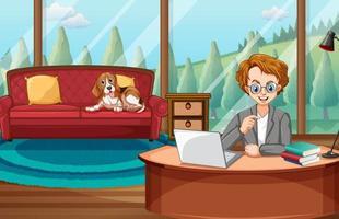 scen med mannen som arbetar på datorn hemma