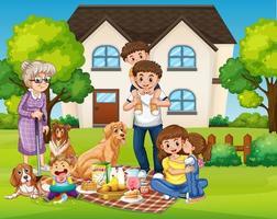 glückliches Familienpicknick auf dem Hof vektor
