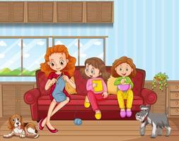 scen med människor i familjen som kopplar av hemma