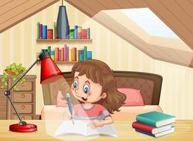 en flicka som lär sig i sovrummet vektor