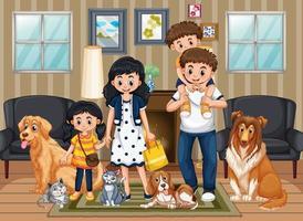 scen med människor som stannar hemma med familjen