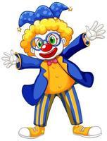 lustiger Clown, der blaue Jacke und Brille trägt vektor