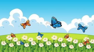 naturscenbakgrund med fjärilar som flyger i trädgården vektor