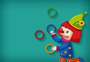 Hintergrundschablonendesign mit glücklichen Clown-Jonglierreifen vektor