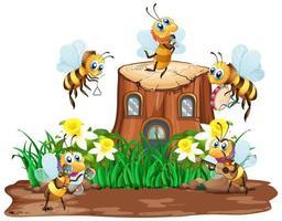 scen med växter och insekter i trädgården vektor