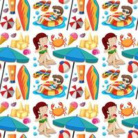 sömlös sommar strand ikon och barn tecknad stil på vit bakgrund vektor