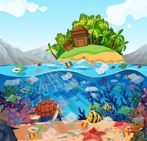 vattenförorening med plastpåsar i havet vektor