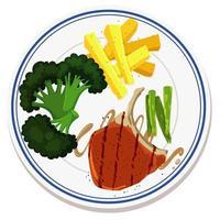 Luftaufnahme von Lebensmitteln auf Teller vektor