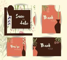 Hochzeitseinladungskartenschablonen, Hochzeitsset mit Blumenmuster vektor