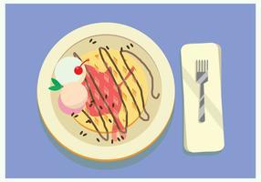 Gekrönt Waffel mit Vanilleeis, Schokolade und Kirsche im Vector blauen Tisch
