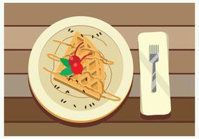 Waffle med honung sås och Red Cherry Vector