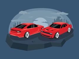 Rotes klassisches Dodge Charger Car Vector Illustration
