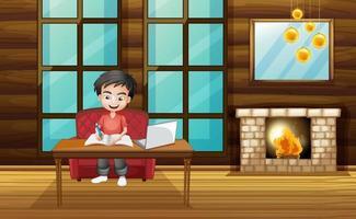 scen med pojken som arbetar med läxor hemma