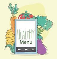 hälsosam meny och sammansättning av e-handel med färsk mat vektor