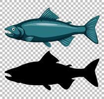 Thunfisch mit Silhouette vektor