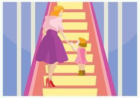 Mamma och hennes dotter i rulltrappan Vector