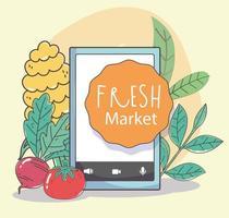 gesunde Speisekarte und frische Lebensmittel E-Commerce-Zusammensetzung vektor