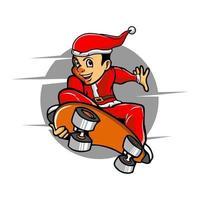Junge mit Weihnachtsmann Kleidung und Skateboard vektor
