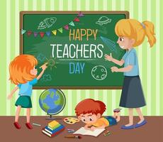 glad lärares dagstext vektor