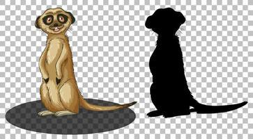 Erdmännchen-Zeichentrickfigur mit ihrer Silhouette vektor