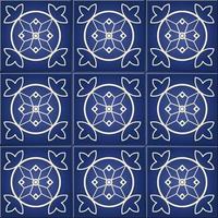 nahtloses Muster der blauen und weißen marokkanischen Blumenfliese vektor