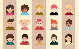 uppsättning olika människor avatar ikoner vektor