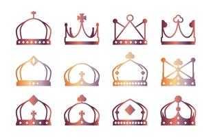 Lineart Crown Ikoner vektor