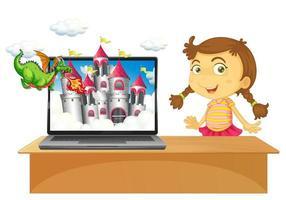 Märchen-Desktop-Hintergrund auf Laptop mit Mädchen