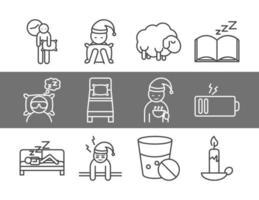 sömnkvalitet linje konst ikonuppsättning vektor