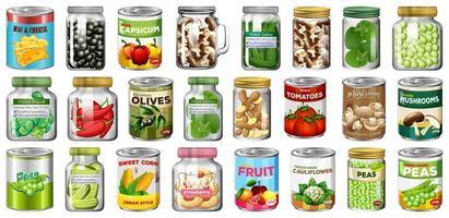 uppsättning olika konserver och mat i burkar vektor