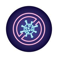 covid19-Viruspartikel verweigert Symbol im Neonstil