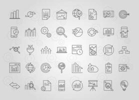 Symbolsatz für Datenanalyse-, Geschäfts- und Marketingstrategie vektor
