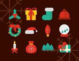 Weihnachtswohnungsikonensammlung vektor