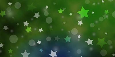 grüner Hintergrund mit Kreisen, Sternen.