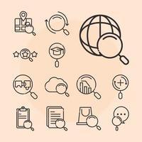 webbsökning ikonuppsättning med förstoringsglas vektor