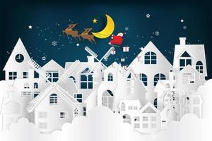 Santa Claus Schlitten im Papierschnittstil über der verschneiten Stadt vektor