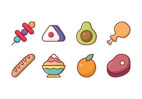 Freie Lebensmittel und Obst Icon Set vektor