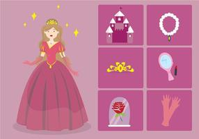Princesa tecknad elementet vektor