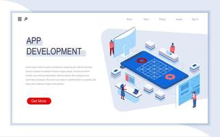 isometrische Landingpage für die App-Entwicklung
