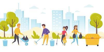 glada män och kvinnor som städar stadsgatan
