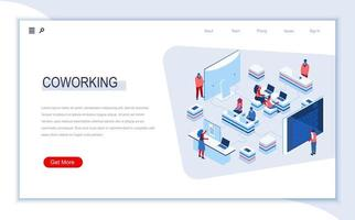 coworking space isometric landing page