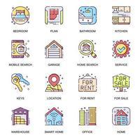 fastigheter platt ikoner set. vektor