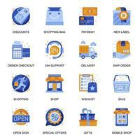 E-Commerce-Symbole im flachen Stil.