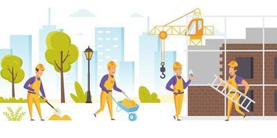 grupp byggare i hårda hattar och enhetligt arbete vektor