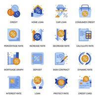 Kredit- und Kreditsymbole im flachen Stil. vektor