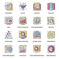 dataanalys platt ikoner set.
