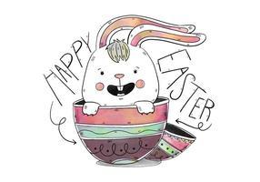 Söt kanin Inside ägg med bokstäver påskdagen vektor