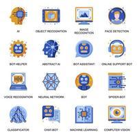ikoner för artificiell intelligens i platt stil. vektor