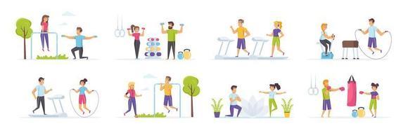 fitness träning med människor karaktärer vektor