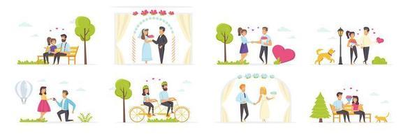 Paar verliebt in Menschen Charaktere gesetzt vektor